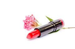 Rossetto rosso con il fiore Immagine Stock Libera da Diritti