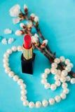 Rossetto rosso Ramoscello con i fiori della mandorla Perle bianche Priorità bassa per una scheda dell'invito o una congratulazion Fotografia Stock
