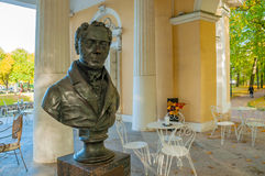 Rossi Pavilion in the Mikhailovsky Garden and the monument bust to Carlo Rossi in St Petersburg, Russia Stock Photography