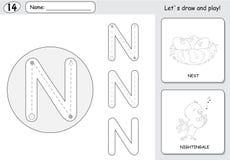 Rossignol de bande dessinée et fiche de travail de découverte d'alphabet de nid : writin Photos libres de droits