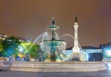 Rossio广场在晚上,里斯本 库存照片