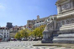 Rossio广场里斯本 彼得雕象的石基地IV Po 库存图片
