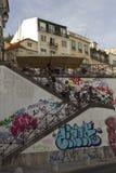 从Rossio驻地的楼梯到Calcada做杜克 库存照片
