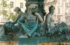 Rossio Brunnen-Detail Stockfoto