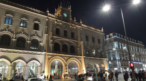 Rossio central station, lisbon city, europe. Central Rossio Station in Lisbon. night view of the front Stock Image