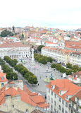 Rossio district, lisbon city, europe. View of the historic center of Lisbon, Rossio district. Fountain and column Royalty Free Stock Photography
