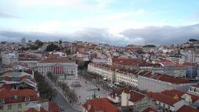 Rossio fyrkant i Lisbon stock video