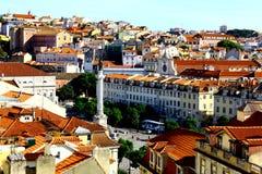 Rossio fyrkant, Lisbon, Portugal Arkivfoton