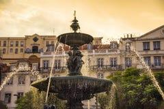 Rossio fyrkantig springbrunn Royaltyfri Bild