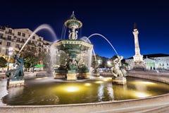 Rossio Kwadrat, Lisbon Zdjęcie Royalty Free