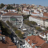 Rossio and the National Theater - Lisbon - Portugal Royalty Free Stock Images