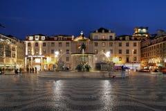 Rossio Quadrat, Lissabon, Portugal Lizenzfreie Stockfotos