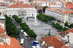 Rossio Quadrat vom Aufzug Sankt-Justa, Lissabon Lizenzfreies Stockfoto
