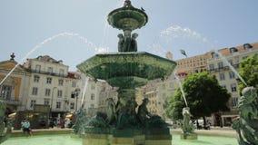 Rossio quadratischer Brunnen stock video footage