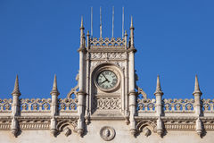 Rossio Railway Station in Lisbon Architectural Details Stock Photography