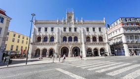 Rossio Railway Station in Lisbon. Lisbon, Portugal. August 31, 2014: The Rossio Railway Station entrance. A 19th century train station built in the neo-manueline stock video footage