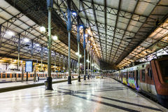 The Rossio Railway Station by night in Lisbon, Portugal Stock Photo