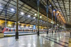 The Rossio Railway Station by night in Lisbon, Portugal Royalty Free Stock Image