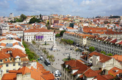 Rossio Square. Birdseye view of Rossio, main square of Lisbon, Portugal Royalty Free Stock Image