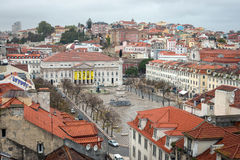 Rossio Square at the center of Lisbon, Portugal Stock Image