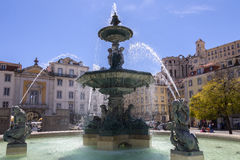 Rossio Square - City of Lisbon - Portugal. royalty free stock images