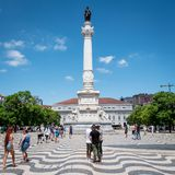 Rossio Square and the Column of Pedro IV, Lisbon, Portugal stock photos