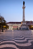 Rossio Square at Dawn in Lisbon Stock Images