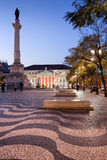 Rossio Square at Dusk in Lisbon Royalty Free Stock Photos