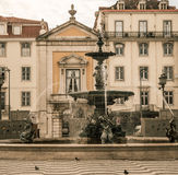Rossio Square fountain lisbon Royalty Free Stock Photos