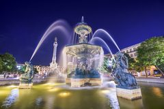 Rossio Square Fountain of Lisbon Stock Photo