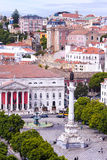 Rossio square with fountain located at Baixa district in Lisbon, Stock Image