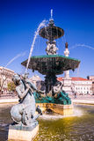Rossio square with fountain located at Baixa district in Lisbon,. Portugal Stock Image