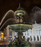 Rossio Square Fountain Stock Photo