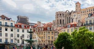 Rossio Square in Lisbon Stock Image