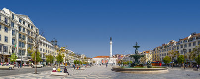 Rossio Square Lisbon Dom Pedro IV Royalty Free Stock Photography