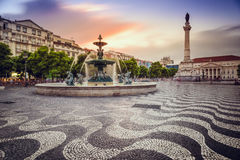 Rossio Square. Lisbon, Portugal at Rossio Square Stock Photo