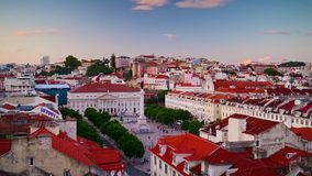 Rossio Square of Lisbon, Portugal stock footage