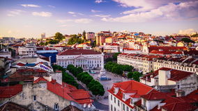 Rossio Square of Lisbon, Portugal stock video footage