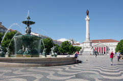 Rossio Square in Lisbon Royalty Free Stock Images