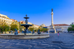 Rossio square at Lisbon stock photo