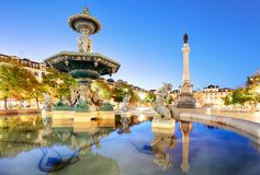 Rossio square in Lisbon Portugal Royalty Free Stock Photos