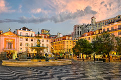 Rossio square in Lisbon, Portugal Royalty Free Stock Photos
