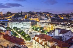 Rossio Square of Lisbon Stock Images