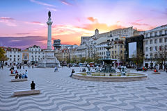 Rossio square in Lisbon Portugal at sunset Royalty Free Stock Photos
