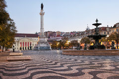 Rossio Square in the Morning Stock Image