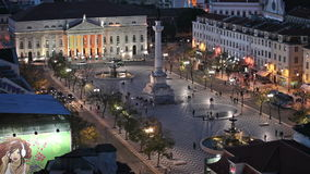 Rossio Square at Night in Lisbon stock footage