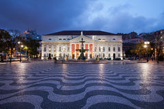 Rossio Square at Night in Lisbon Stock Photos
