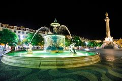 Rossio Square by night Stock Photography