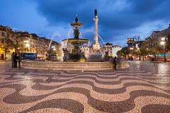 Rossio Square at Night in Lisbon Royalty Free Stock Images
