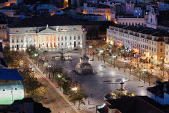 Rossio Square at Night in Portugal Stock Images